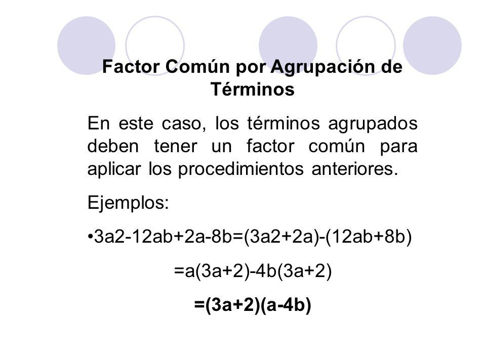 Factor Común por Agrupación de Términos En este caso, los términos agrupados deben tener un factor común para aplicar los procedimientos anteriores. E