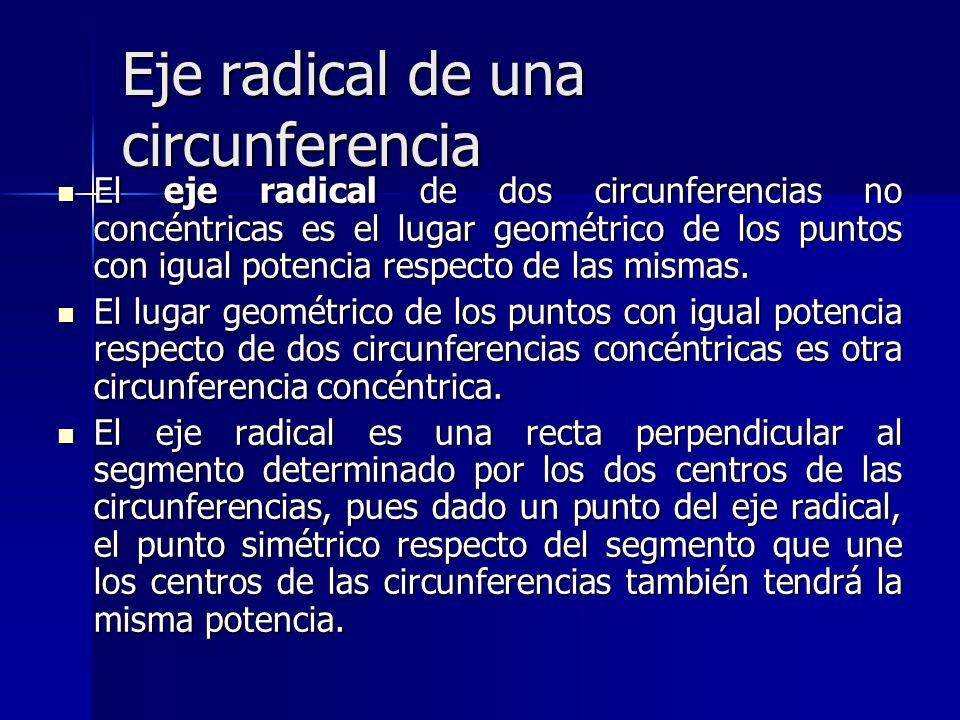 Eje radical de una circunferencia El eje radical de dos circunferencias no concéntricas es el lugar geométrico de los puntos con igual potencia respec