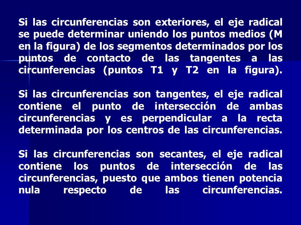 Si las circunferencias son exteriores, el eje radical se puede determinar uniendo los puntos medios (M en la figura) de los segmentos determinados por