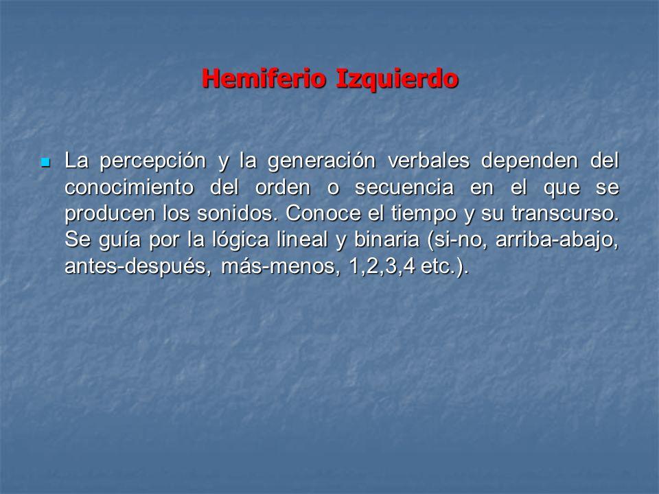 Hemiferio Izquierdo La percepción y la generación verbales dependen del conocimiento del orden o secuencia en el que se producen los sonidos. Conoce e