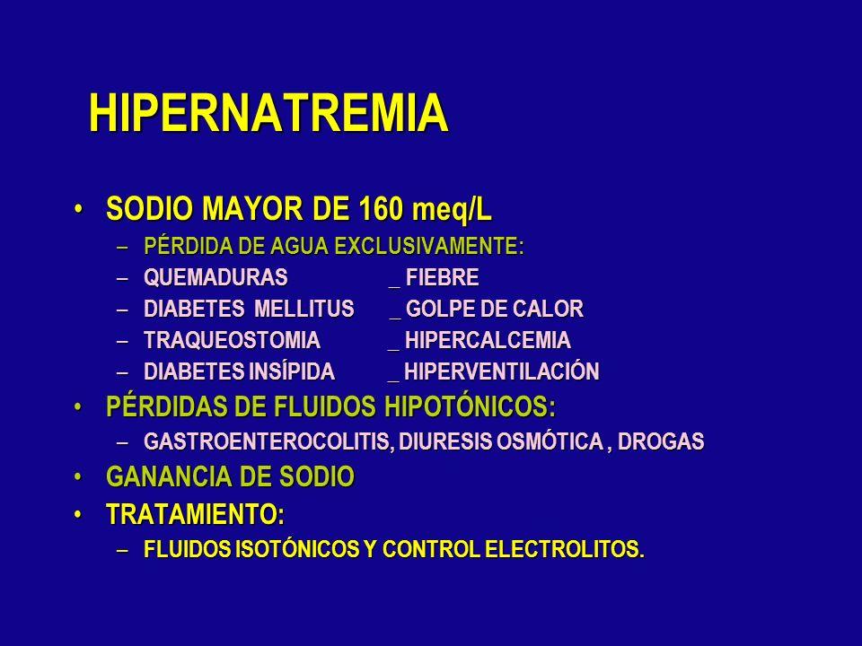 HIPONATREMIA-TRATAMIENTO EN CASOS GRAVES DAR NaCl 3%,SE USA : EN CASOS GRAVES DAR NaCl 3%,SE USA : – DEFICIT Na = 0.6xPESO( 120 – Na medido) EN OTROS
