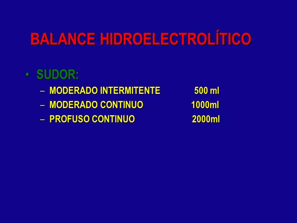 BALANCE HIDROELECTROLÍTICO PERDIDAS EXTRAORDINARIAS: PERDIDAS EXTRAORDINARIAS: – PERDIDAS INSENSIBLES: 5 ml / Kg / número de horas sop ( abdomen abier