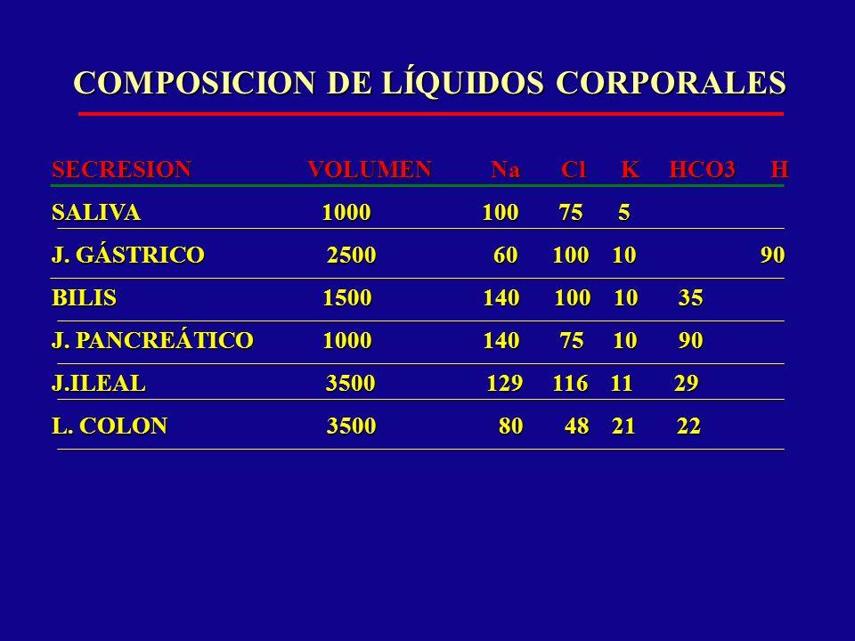BALANCE HIDROELECTROLÍTICO SUDOR: SUDOR: – MODERADO INTERMITENTE 500 ml – MODERADO CONTINUO 1000ml – PROFUSO CONTINUO 2000ml