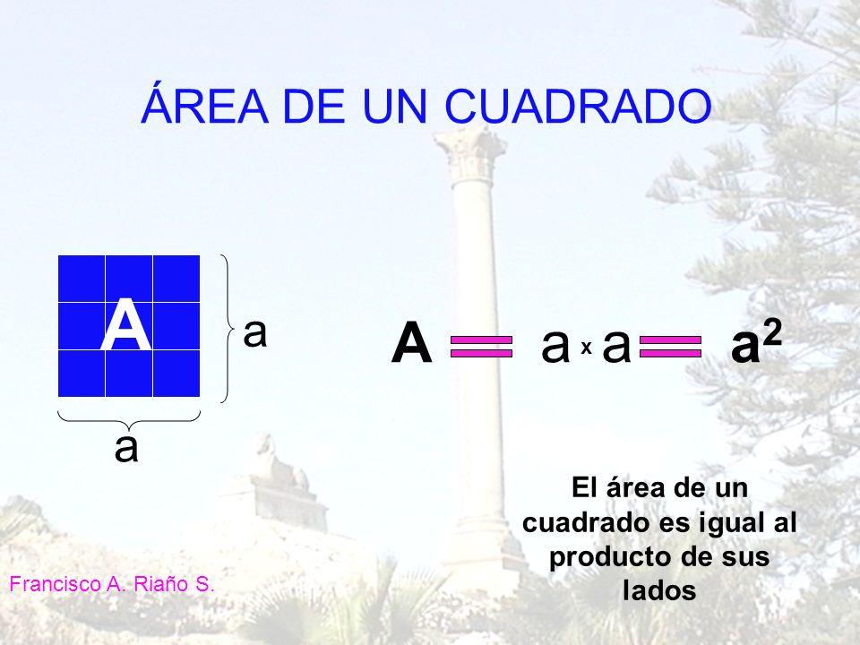 a a Aaaa2a2 x ÁREA DE UN CUADRADO El área de un cuadrado es igual al producto de sus lados A Francisco A. Riaño S.