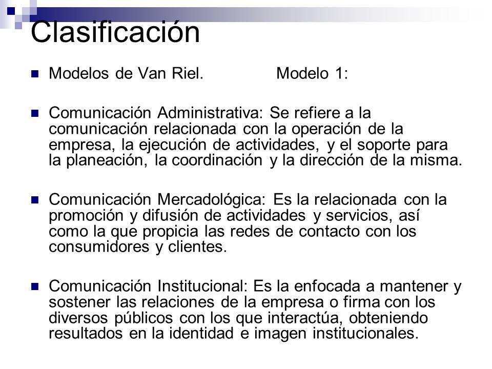 Clasificación Modelos de Van Riel.Modelo 1: Comunicación Administrativa: Se refiere a la comunicación relacionada con la operación de la empresa, la e