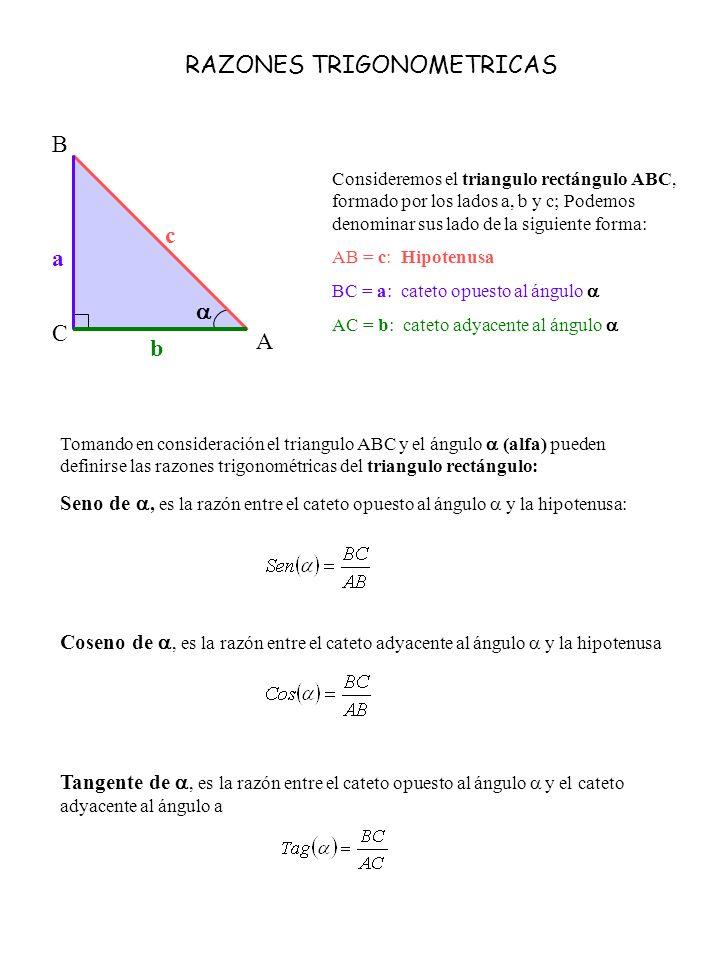RAZONES TRIGONOMETRICAS Consideremos el triangulo rectángulo ABC, formado por los lados a, b y c; Podemos denominar sus lado de la siguiente forma: AB