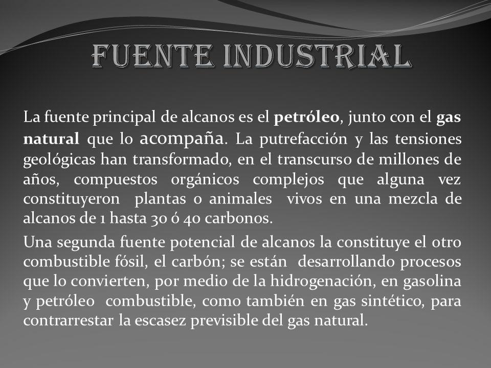 La fuente principal de alcanos es el petróleo, junto con el gas natural que lo acompaña. La putrefacción y las tensiones geológicas han transformado,