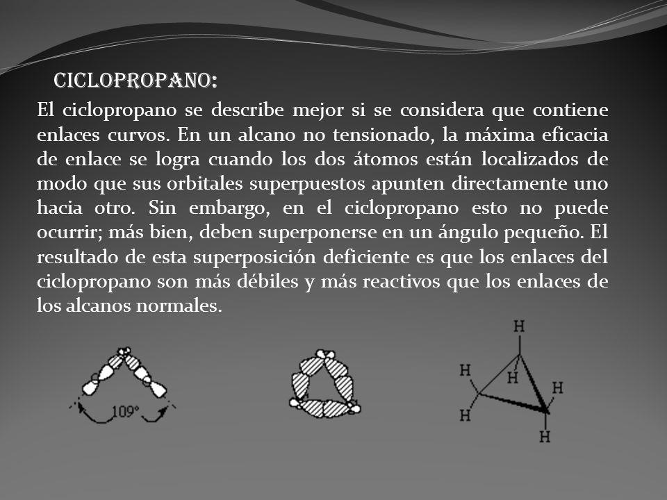 El ciclopropano se describe mejor si se considera que contiene enlaces curvos. En un alcano no tensionado, la máxima eficacia de enlace se logra cuand