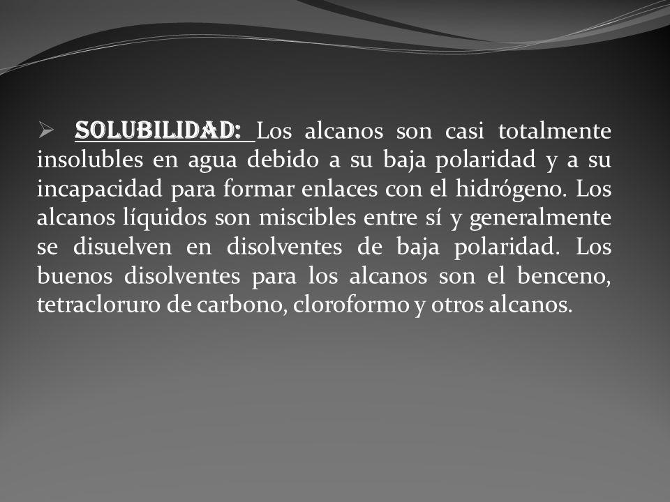 Solubilidad: Los alcanos son casi totalmente insolubles en agua debido a su baja polaridad y a su incapacidad para formar enlaces con el hidrógeno. Lo