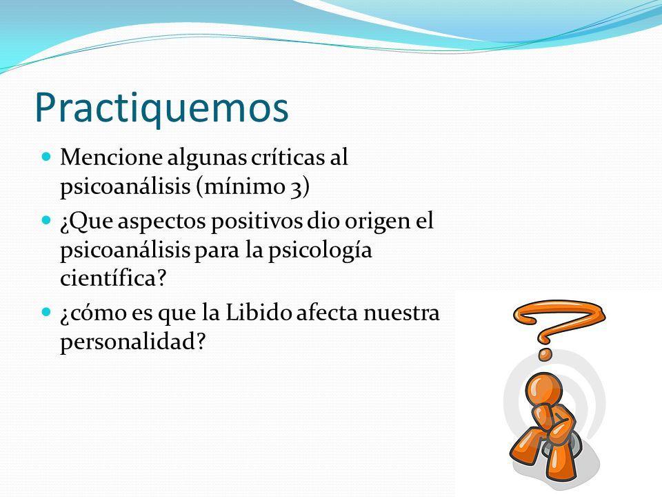 Practiquemos Mencione algunas críticas al psicoanálisis (mínimo 3) ¿Que aspectos positivos dio origen el psicoanálisis para la psicología científica?
