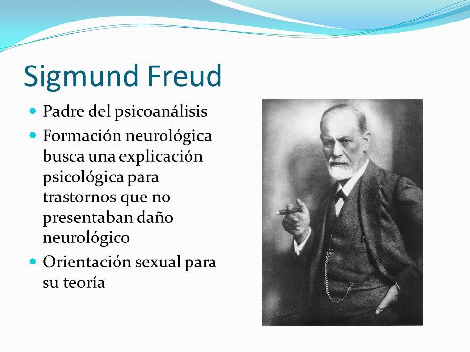 Sigmund Freud Padre del psicoanálisis Formación neurológica busca una explicación psicológica para trastornos que no presentaban daño neurológico Orie