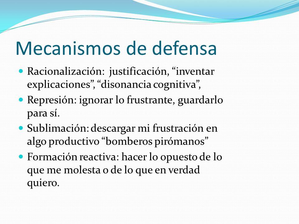 Mecanismos de defensa Racionalización: justificación, inventar explicaciones, disonancia cognitiva, Represión: ignorar lo frustrante, guardarlo para s