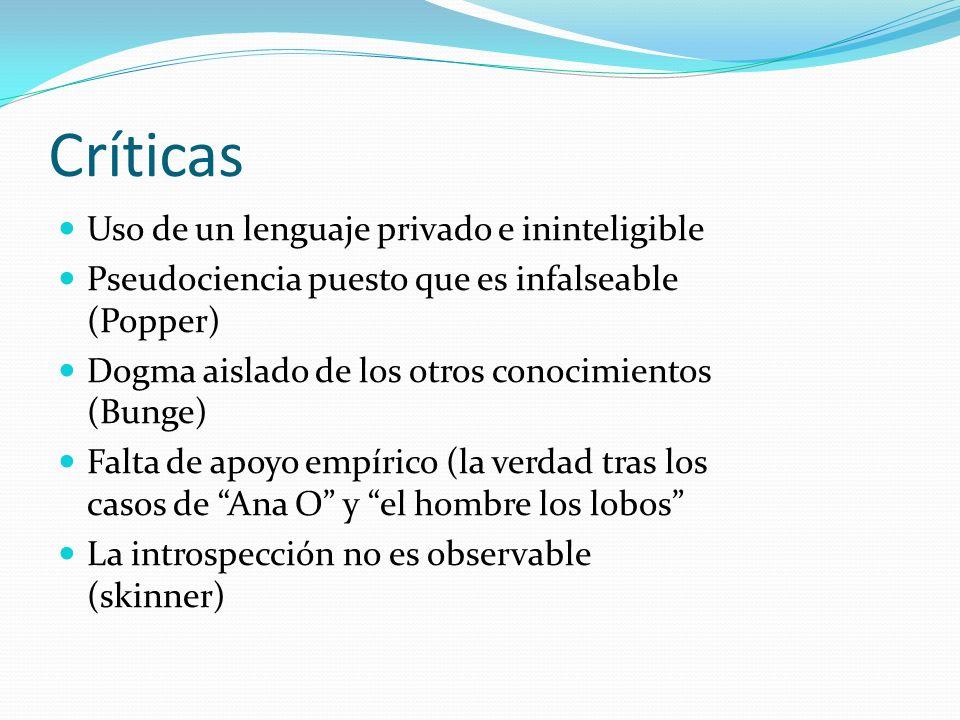 Críticas Uso de un lenguaje privado e ininteligible Pseudociencia puesto que es infalseable (Popper) Dogma aislado de los otros conocimientos (Bunge)