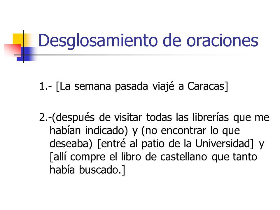 Desglosamiento de oraciones 1.- [La semana pasada viajé a Caracas] 2.-(después de visitar todas las librerías que me habían indicado) y (no encontrar