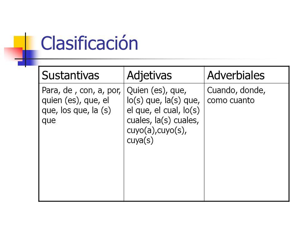 Clasificación SustantivasAdjetivasAdverbiales Para, de, con, a, por, quien (es), que, el que, los que, la (s) que Quien (es), que, lo(s) que, la(s) qu