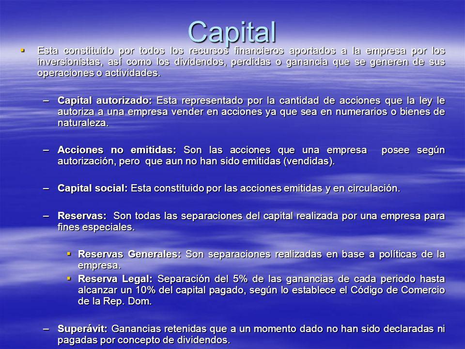 Capital Esta constituido por todos los recursos financieros aportados a la empresa por los inversionistas, así como los dividendos, perdidas o gananci