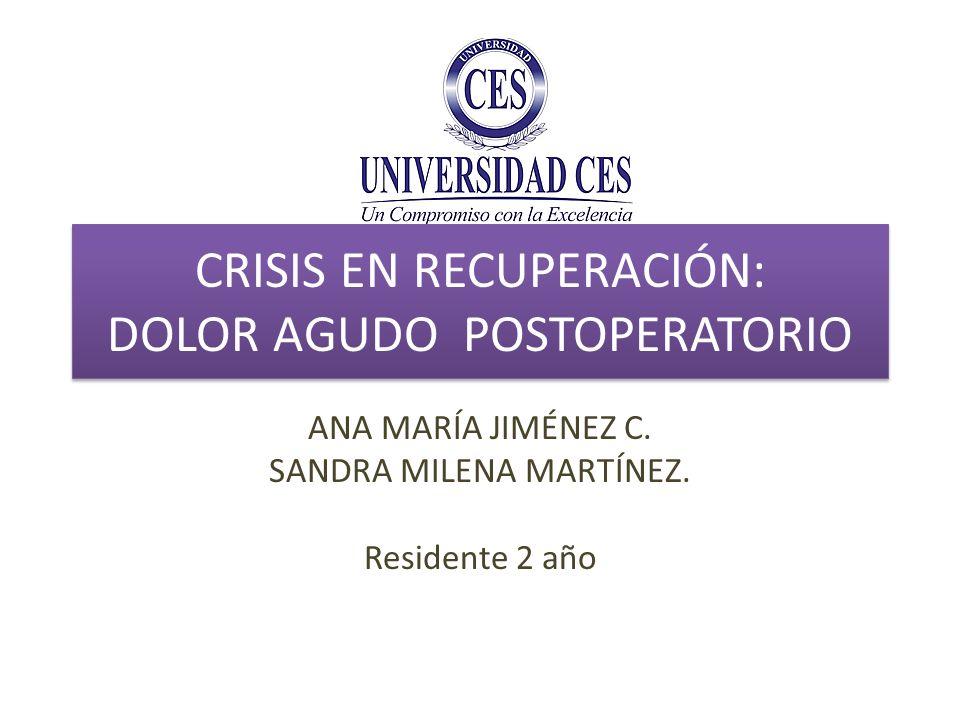 CRISIS EN RECUPERACIÓN: DOLOR AGUDO POSTOPERATORIO ANA MARÍA JIMÉNEZ C. SANDRA MILENA MARTÍNEZ. Residente 2 año
