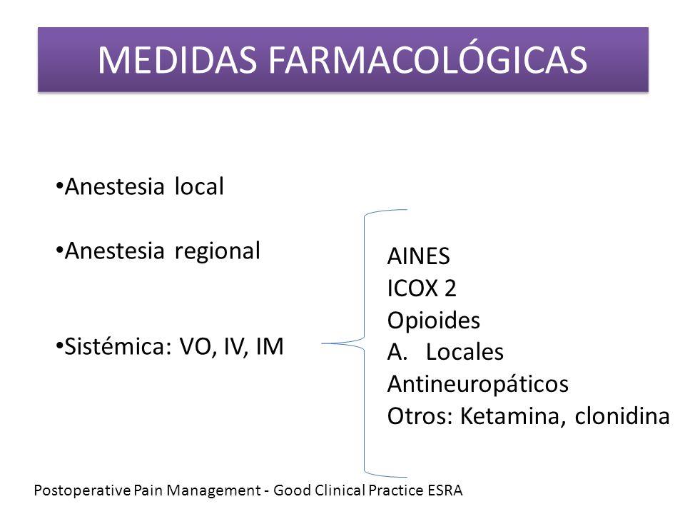 MEDIDAS FARMACOLÓGICAS Anestesia local Anestesia regional Sistémica: VO, IV, IM AINES ICOX 2 Opioides A.Locales Antineuropáticos Otros: Ketamina, clon