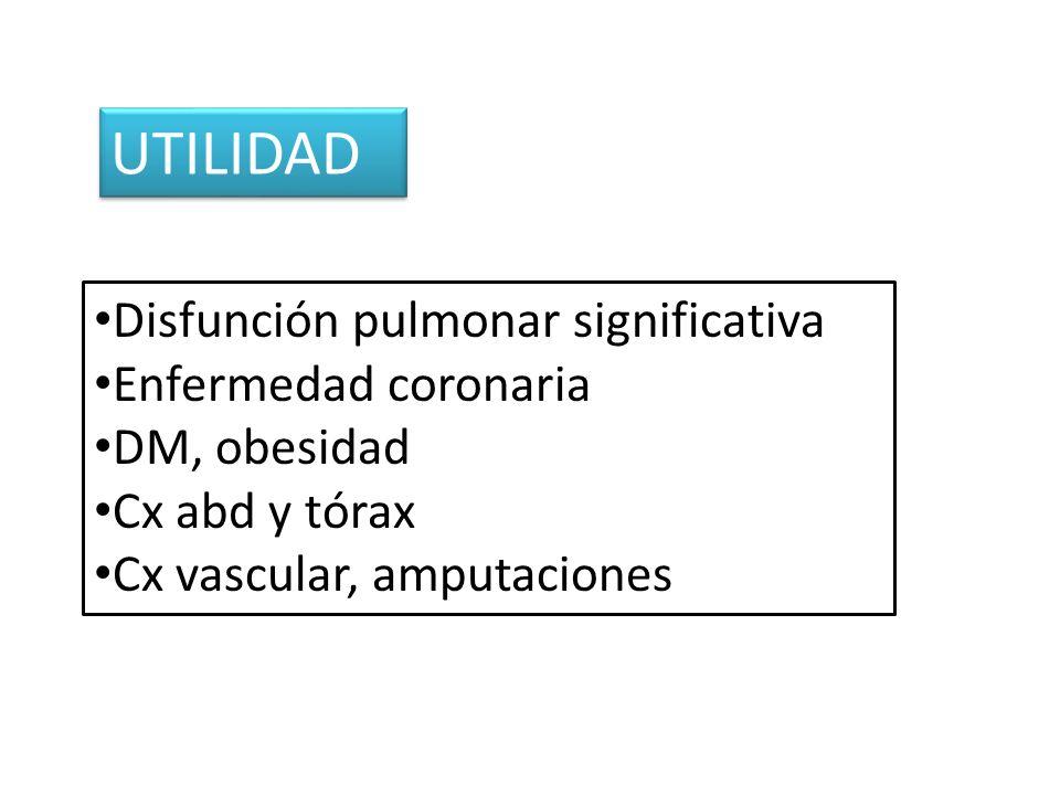 UTILIDAD Disfunción pulmonar significativa Enfermedad coronaria DM, obesidad Cx abd y tórax Cx vascular, amputaciones