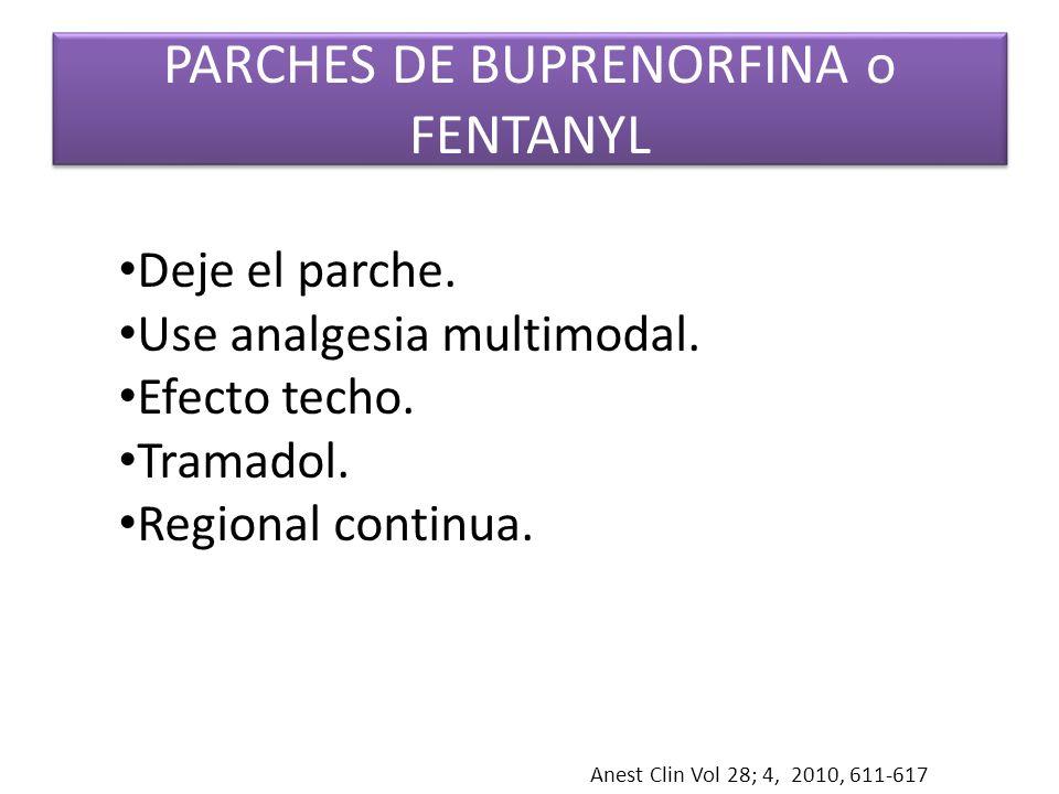 PARCHES DE BUPRENORFINA o FENTANYL Anest Clin Vol 28; 4, 2010, 611-617 Deje el parche. Use analgesia multimodal. Efecto techo. Tramadol. Regional cont