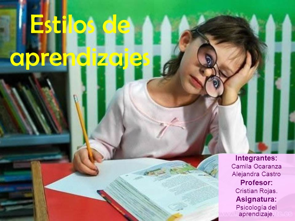 Estilos de aprendizajes Integrantes: Camila Ocaranza Alejandra Castro Profesor: Cristian Rojas. Asignatura: Psicología del aprendizaje.