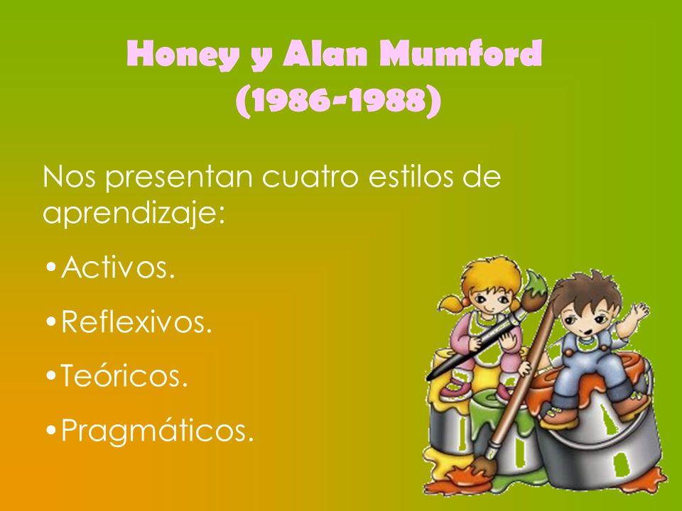Honey y Alan Mumford (1986-1988) Nos presentan cuatro estilos de aprendizaje: Activos. Reflexivos. Teóricos. Pragmáticos.