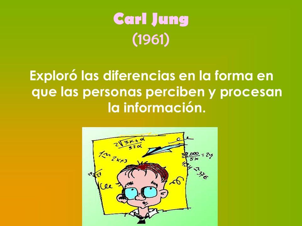 Carl Jung (1961) Exploró las diferencias en la forma en que las personas perciben y procesan la información.