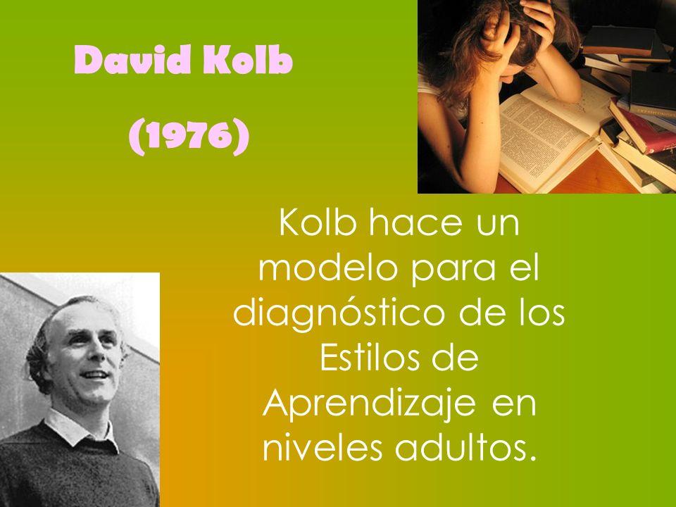 Kolb hace un modelo para el diagnóstico de los Estilos de Aprendizaje en niveles adultos. David Kolb (1976)