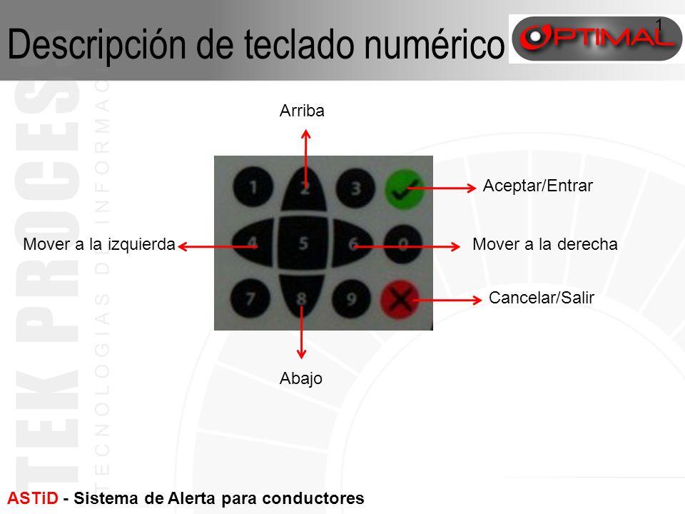 ASTiD - Sistema de Alerta para conductores con fatiga 1 Aceptar/Entrar Cancelar/Salir Mover a la derechaMover a la izquierda Abajo Arriba Descripción