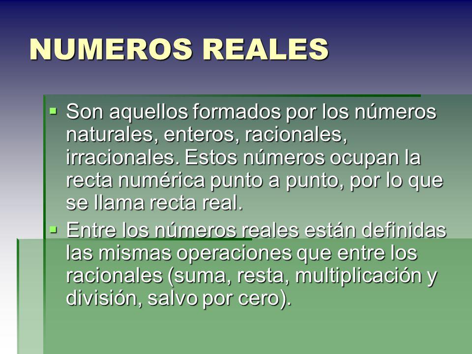 NUMEROS REALES Son aquellos formados por los números naturales, enteros, racionales, irracionales. Estos números ocupan la recta numérica punto a punt