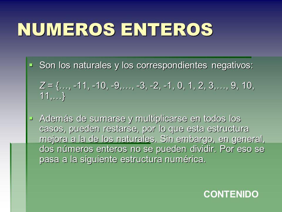 NUMEROS ENTEROS Son los naturales y los correspondientes negativos: Z = {…, -11, -10, -9,…, -3, -2, -1, 0, 1, 2, 3,…, 9, 10, 11,…} Son los naturales y