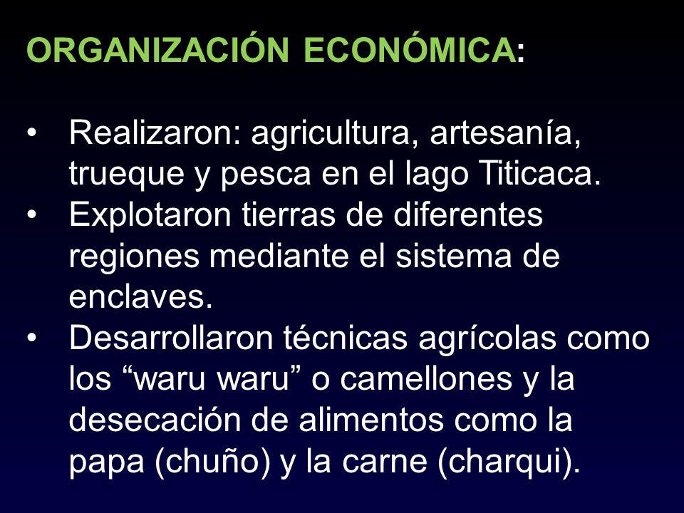ORGANIZACIÓN ECONÓMICA: Realizaron: agricultura, artesanía, trueque y pesca en el lago Titicaca. Explotaron tierras de diferentes regiones mediante el