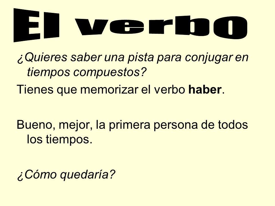 Cómo se forman los tiempos compuestos: Conjugación del verbo haber + otro en verbo en participio. Ejemplo: Los jóvenes han prestado atención a la clas