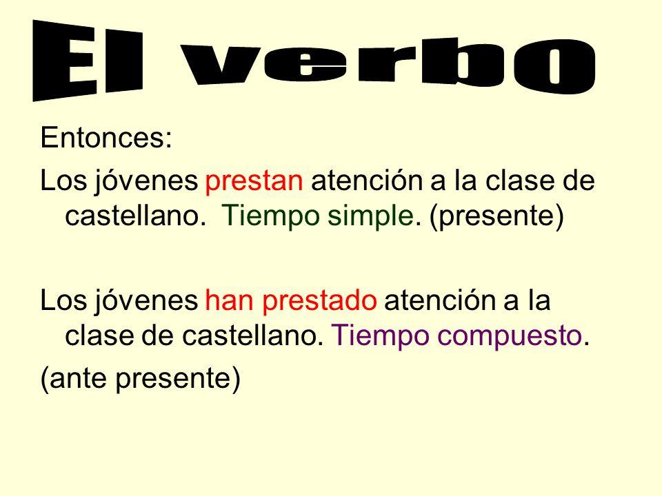 El tiempo en español posee dos clasificaciones: 1.- Tiempo simple: Posee un solo verbo 2.- Tiempo Compuesto: Posee dos verbos, uno como auxiliar (habe