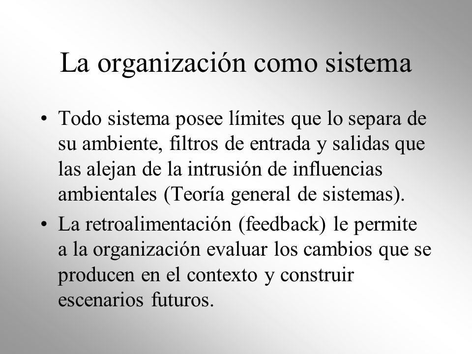 La organización como sistema Todo sistema posee límites que lo separa de su ambiente, filtros de entrada y salidas que las alejan de la intrusión de i