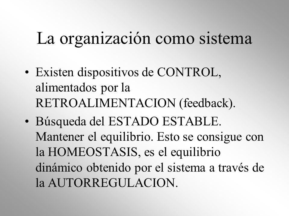 La organización como sistema Existen dispositivos de CONTROL, alimentados por la RETROALIMENTACION (feedback). Búsqueda del ESTADO ESTABLE. Mantener e
