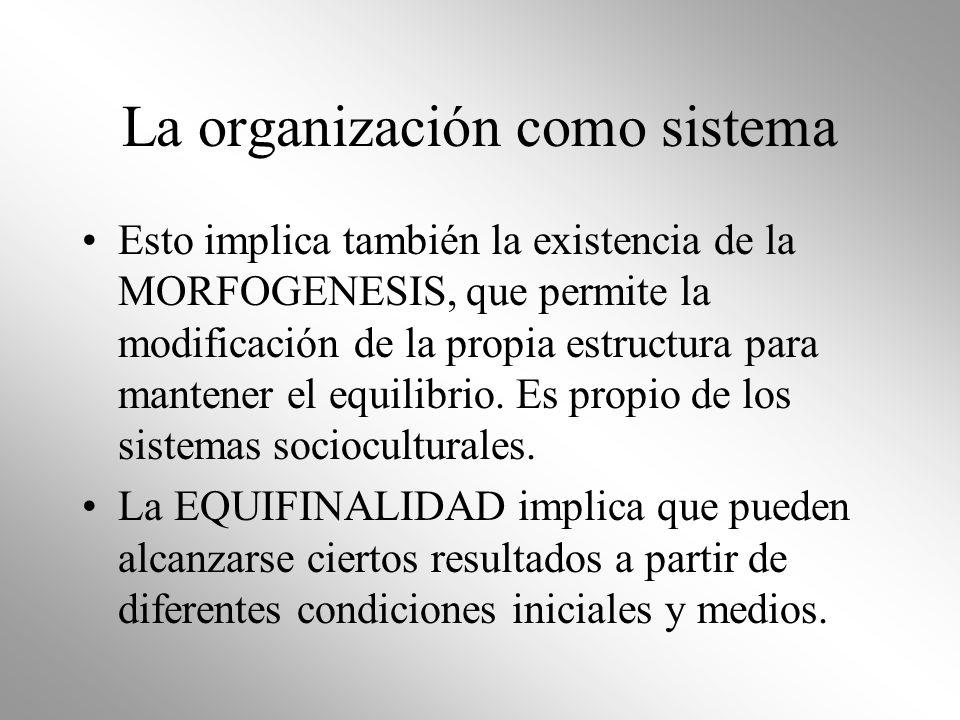 La organización como sistema Esto implica también la existencia de la MORFOGENESIS, que permite la modificación de la propia estructura para mantener