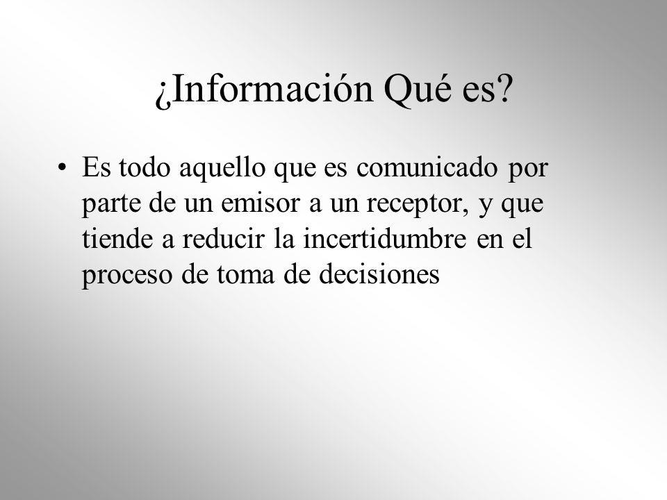 ¿Información Qué es? Es todo aquello que es comunicado por parte de un emisor a un receptor, y que tiende a reducir la incertidumbre en el proceso de