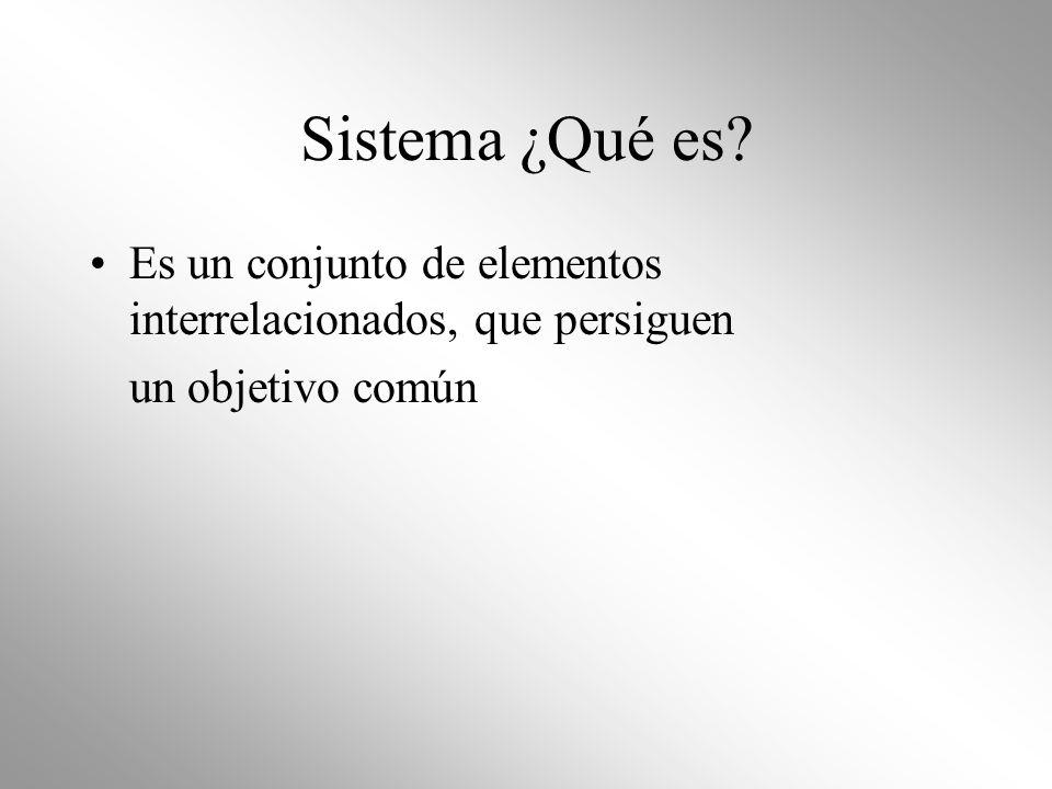 Sistema ¿Qué es? Es un conjunto de elementos interrelacionados, que persiguen un objetivo común