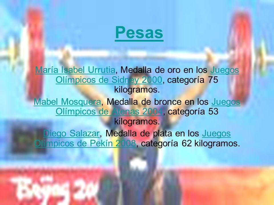 Pesas María Isabel UrrutiaMaría Isabel Urrutia, Medalla de oro en los Juegos Olímpicos de Sidney 2000, categoría 75 kilogramos.Juegos Olímpicos de Sid