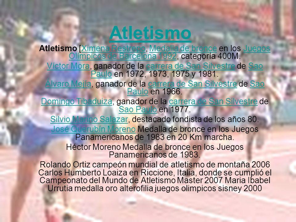 Atletismo Atletismo [Ximena Restrepo, Medalla de bronce en los Juegos Olímpicos de Barcelona 1992, categoría 400M.Ximena RestrepoMedalla de bronceJueg