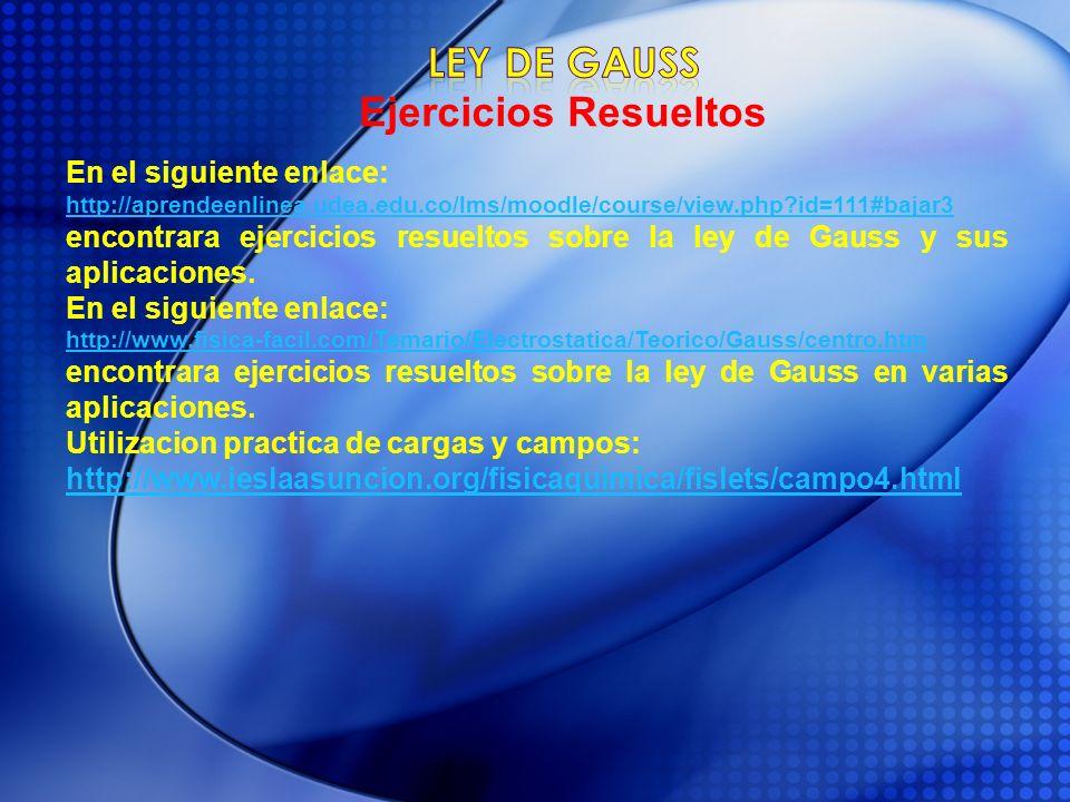 En el siguiente enlace: http://aprendeenlinea.udea.edu.co/lms/moodle/course/view.php?id=111#bajar3 encontrara ejercicios resueltos sobre la ley de Gau