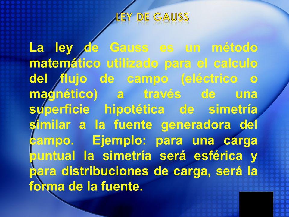 La ley de Gauss es un método matemático utilizado para el calculo del flujo de campo (eléctrico o magnético) a través de una superficie hipotética de