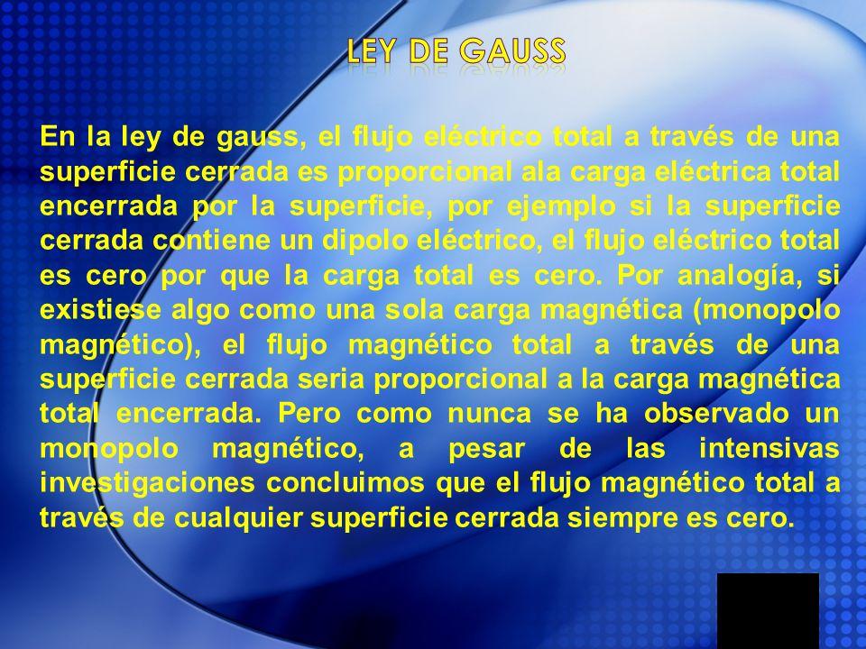 En la ley de gauss, el flujo eléctrico total a través de una superficie cerrada es proporcional ala carga eléctrica total encerrada por la superficie,