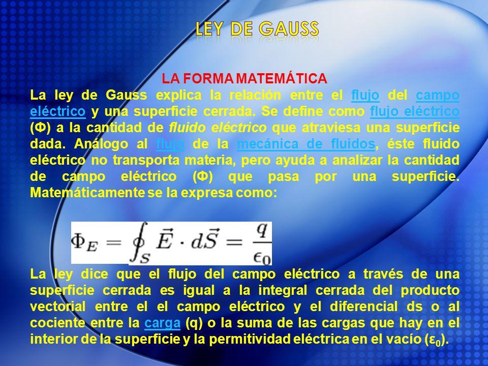 LA FORMA MATEMÁTICA La ley de Gauss explica la relación entre el flujo del campo eléctrico y una superficie cerrada. Se define como flujo eléctrico (Ф