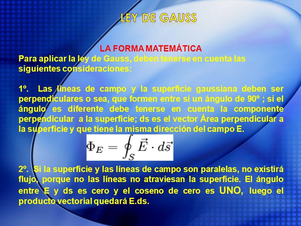 LA FORMA MATEMÁTICA Para aplicar la ley de Gauss, deben tenerse en cuenta las siguientes consideraciones: 1º. Las líneas de campo y la superficie gaus