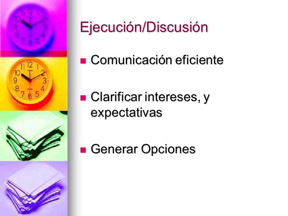 Ejecución/Discusión Comunicación eficiente Comunicación eficiente Clarificar intereses, y expectativas Clarificar intereses, y expectativas Generar Op