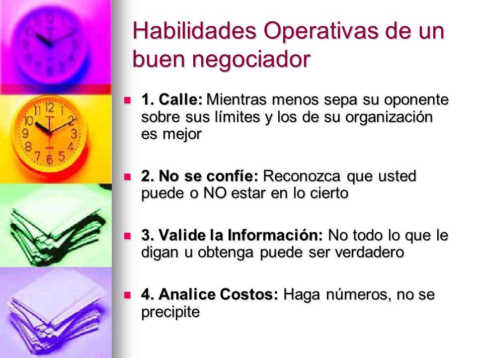 Habilidades Operativas de un buen negociador 1. Calle: Mientras menos sepa su oponente sobre sus límites y los de su organización es mejor 1. Calle: M