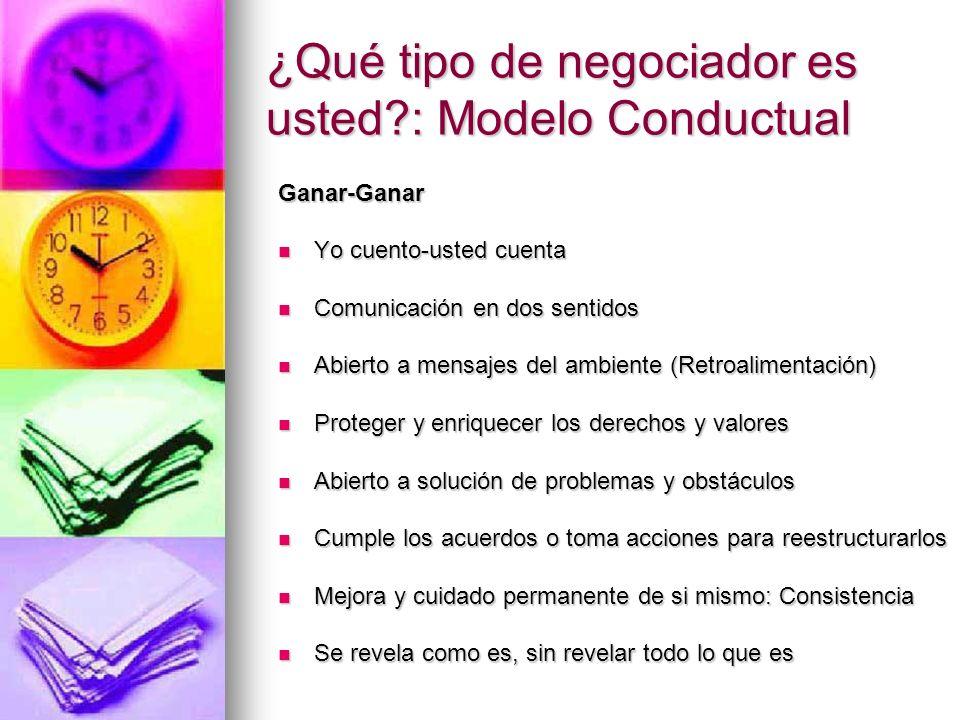¿Qué tipo de negociador es usted?: Modelo Conductual Ganar-Ganar Yo cuento-usted cuenta Yo cuento-usted cuenta Comunicación en dos sentidos Comunicaci