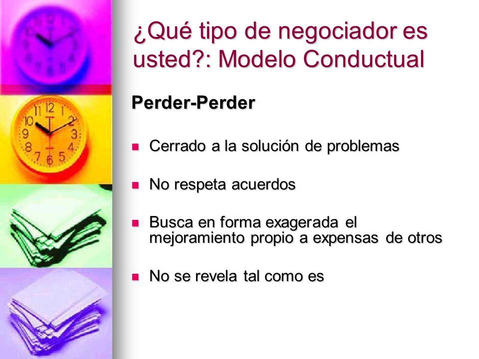 ¿Qué tipo de negociador es usted?: Modelo Conductual Perder-Perder Cerrado a la solución de problemas Cerrado a la solución de problemas No respeta ac